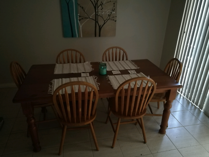 Dining Table Chairs And Room Dresser For Sale