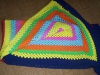 vivid multi-color crochet afghan throw blanket chair cover quilt