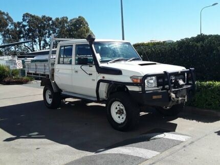 2014 Toyota Landcruiser VDJ79R Workmate Double Cab White 5 Speed Manual Cab Chassis