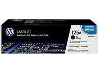 3 REMAINING! HP CB540AD 125A 2-Pack Black Original Laserjet Ink Toner Cartridges