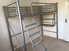 metal high sleeper with wardrobes