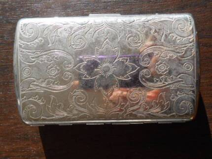 Ronson Silver plate engraved Cigarette Case Holder retro Vintage
