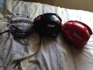 Mens medium Reebok 11k and small ccm v8 hockey helmets for sale