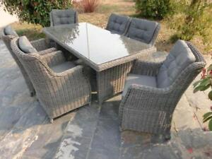 Blow Out Sale  * Aluminum Frame Round Rattan 7PC Dining Set -after discount $1199