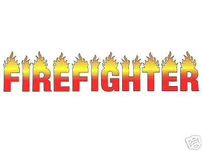FIREFIGHTER decal with FLAMES - Full Color Vinyl Decal for - Firefighter Coloring