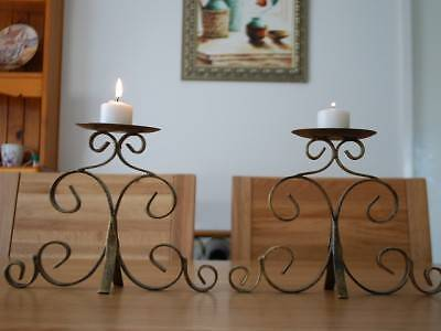 A Pair of Solid Iron Table / Shelf Candle Holders Brass color Kings Park Blacktown Area Preview