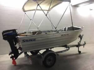 2010 Savage 385 Big Boy Mercury 25hp outboard motor Dunbier trail Blair Athol Port Adelaide Area Preview