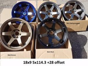 Te37 style 18X9 5x114.3 +28 CLEAR STI OR EVO X OR FIT OTHER CAR blue black tbs