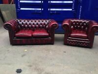 Immaculate chesterfield suite sofa & club chair leather