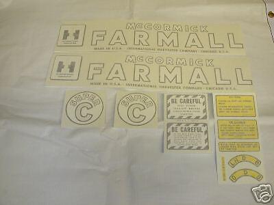 Ihc Farmall Model Super C Tractor Decal Set - Vinyl Cut - Free Shipping