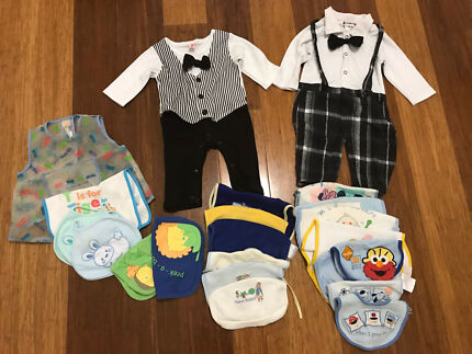 Baby boys suit romper with bow ties and bibs 6 months old