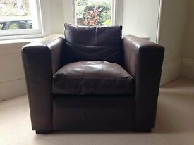 Leather Armchair - chocolate aged leather