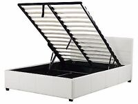 Storage white leather ks bed frame