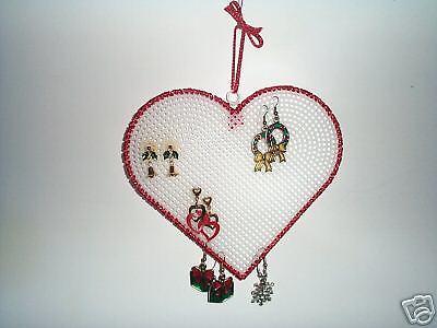 Hanging Earring Holder Organizer Red Glitter Heart 6