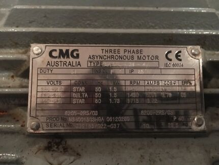 Brand new 1.5/1.73kw cmg 3 phase asynchronous electric motor