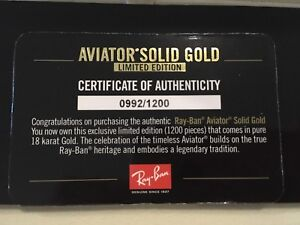 Brand New SOLID GOLD RAY BAN AVIATOR SUNGLASSES Limited Edition Hope Island Gold Coast North Preview