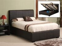 Brown leather double ottoman bed for sale. NO MATTRESS