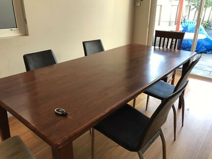 Brown Wood Dining Table For Sale