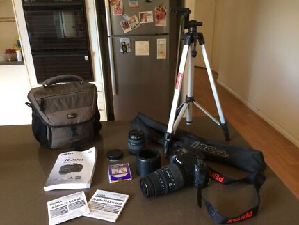Pentax K20 with 2 Sigma lenses, inca tripod and Lowepro bag!