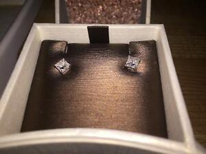 Princess cut .60 diamond earrings