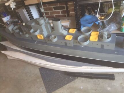 2.4m long radio controlled ship (destroyer style) ready to sail...