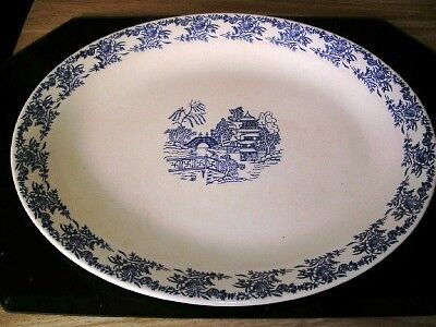 Large Old Antique Chinese Blue Willow Blue/White Platter Chinese Blue Willow