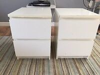 White IKEA Malm Bedside chest of Drawers - delivery available