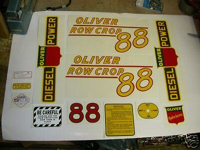 Oliver 88 Row Crop Diesel Tractor Decal Set Yellow Numbers - New Free Shipping