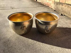 Golden Coloured Aluminium Garden Pots - Matching Pair Strathfield Strathfield Area Preview