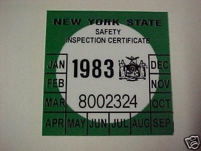 new york 1983 registration inspection sticker windshild