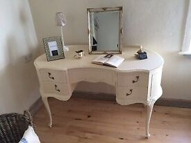 Painted cream dressing table with stool