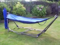 STURDY PORTABLE HAMMOCK WITH CARRYING BAG. HARDLY USED