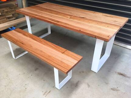 Modern Sustainable Wormy Chestnut Dining table on steel legs