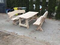 Unique hand made garden furniture set table + 2 seats