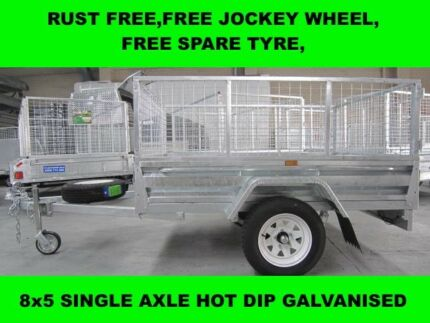 8x5 FULLY WELDED SINGLE AXLE HOT DIP GALVANISED TRAILER