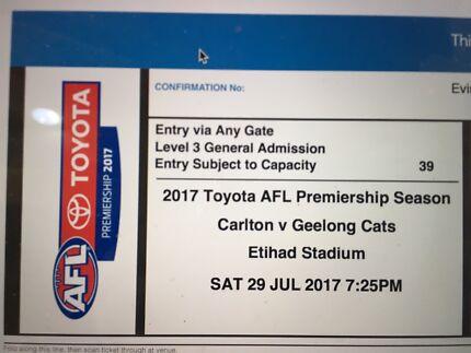 Footy tickets Carlton vs Geelong cats