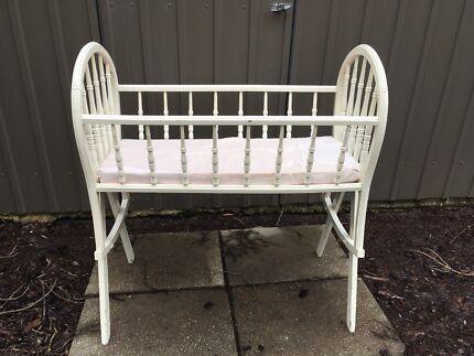 Antique Vintage Baby Cradle Bassinet White Wooden
