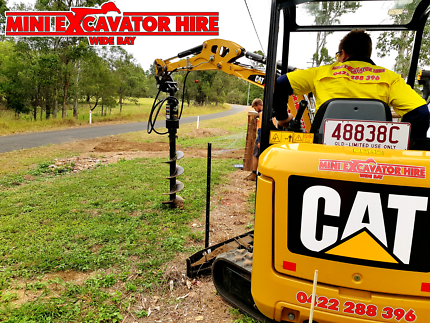Post Hole Drilling - Auger on Excavator and Bobcat