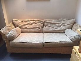 Conservatory 3-4 seater rattan sofa in good condition