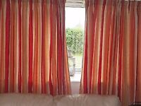 Laura Ashley Striped Lined Curtains 6'4''W x 6'8'' L
