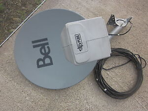 LIKE NEW BELL SATELLITE DISH W/MOUNTING ARM, BRACKET, 66FT CABLE