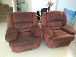 Faux Suede Brown Recliners - Arm Chairs x 2 & 3 Seater Sofa Coorparoo Brisbane South East Preview