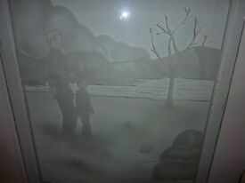 full sized door pane of etched glass