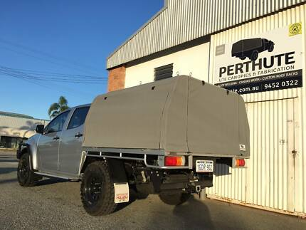 Custom fitted canopy frame and canvas - PerthUte