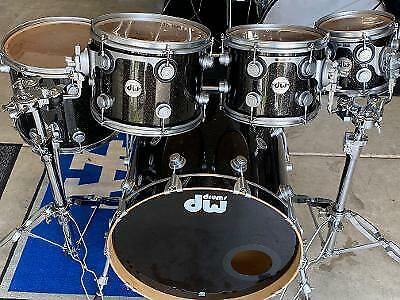 DW Collectors Series Drum set.  Black Ice with Satin Chrome Harware