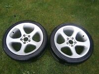 """SET OF 2 BMW 5 SERIES 18"""" ALLOY WHEELS & TYRES STYLE 69 RARE 8J VG COND"""