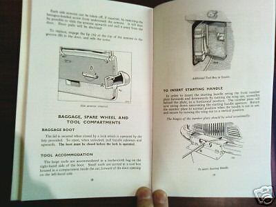 Sunbeam Alpine Mark 1 Owners I Handbook Talbot Rootes Instruction Service