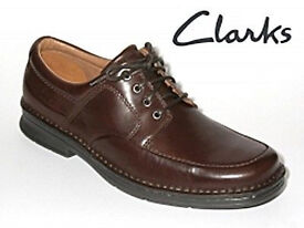 Clarks Active Air Mens Salute Work Ebony Leather Lace up Shoes - Size 6 H Width