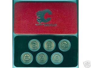 "Box Set of ""Calgary Flames Dollars"" Bronze Collectors Coins 1982"