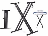 Brand New Double X Frame Keyboard Stand Adjustable Folding Stand Black
